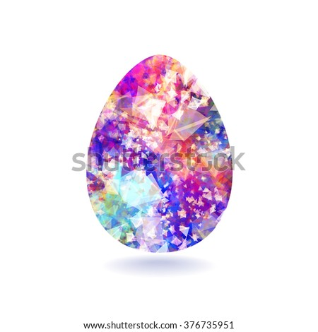 Isolated blue Easter egg painted by a pattern of triangles with watercolor effect