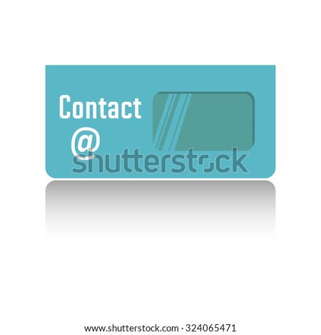 Isolated blue envelope with the text contact written with white letters on the envelope - stock vector