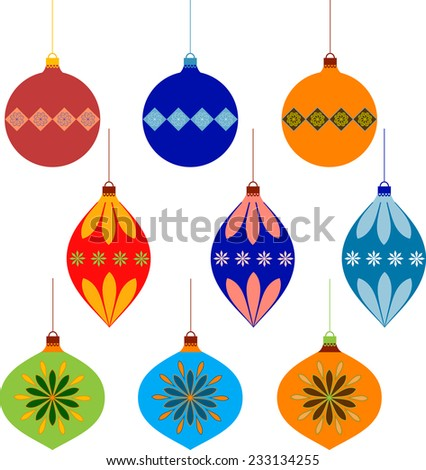 Isolated Blue, Orange, Yellow, Red , Green Christmas Ornament Vectors
