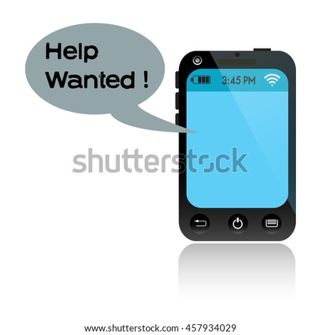 Isolated blue smartphone messaging a text of help - stock vector