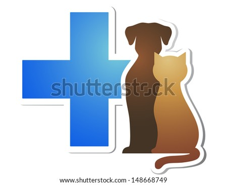 isolated blue veterinary cross and pets on white background - stock vector