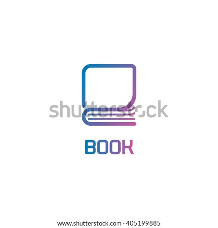 Isolated book logo. Lineart colorful abstract vector illustration. Modern stylized library icon. Learning symbol. Learn business. School teaching sign. Page of notebook. - stock vector