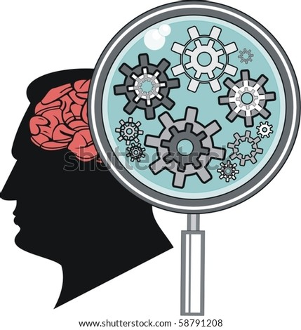 isolated brain and gears - stock vector