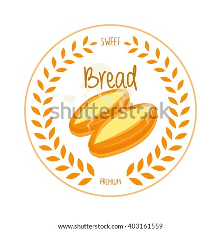 Isolated bread on a white background with text and a laurel wreath