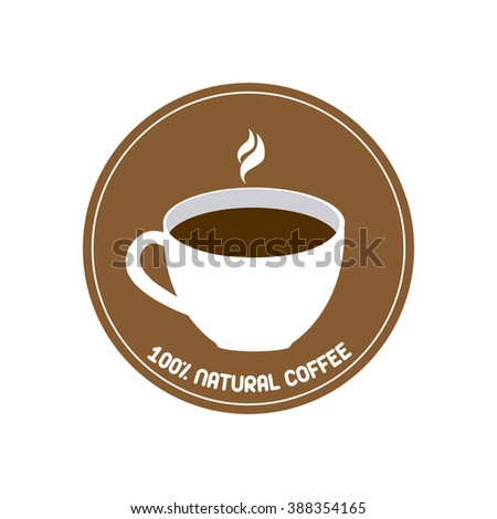 Isolated brown banner with text and a coffee icon on a white background