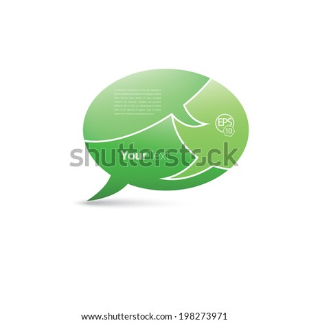 Isolated bubble speech vector composition with three patterned graphics elements. Green edition. - stock vector