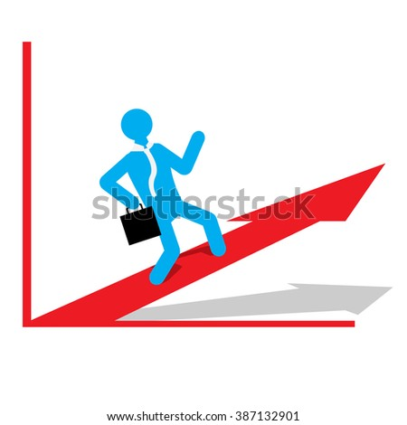 Isolated business graph with an arrow and a businessman