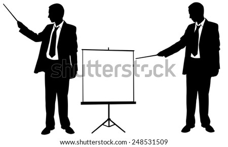 isolated businessmen silhouettes pointing - stock vector