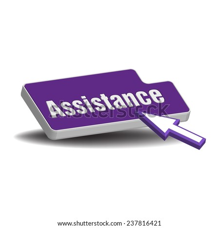 Isolated button with the word assistance written with white letters and a cursor ready to press the button - stock vector