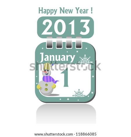Isolated calendar sheet for the first of January 2013. New Year concept - stock vector