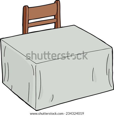 Isolated cartoon empty table and chair over white