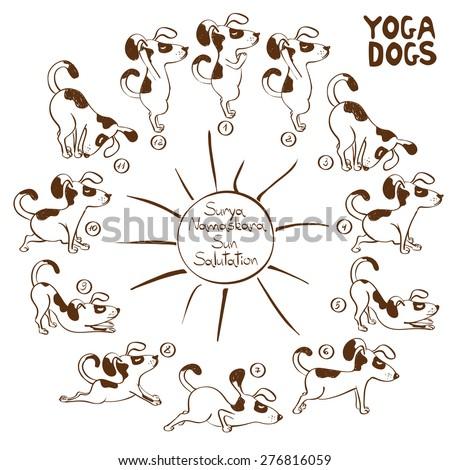 Isolated cartoon funny dog doing yoga position of Surya Namaskara. - stock vector