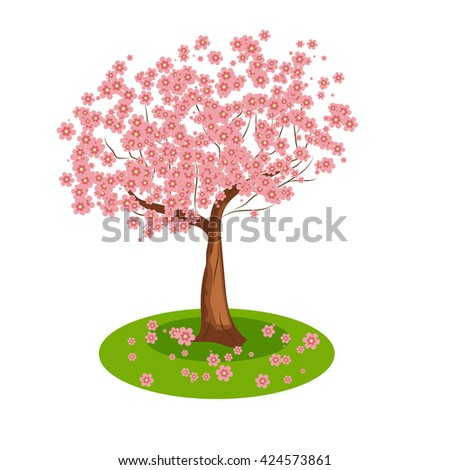 Isolated cartoon sakura tree blooms pink stock vector hd royalty isolated cartoon sakura tree blooms pink flowers vector illustration mightylinksfo