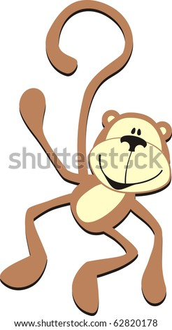 isolated cartoon smiling greeting monkey, individual objects very easy to edit in vector format