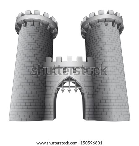 isolated castle gate with two towers vector illustration - stock vector