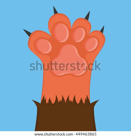 Isolated cat paw with nails, Vector illustration