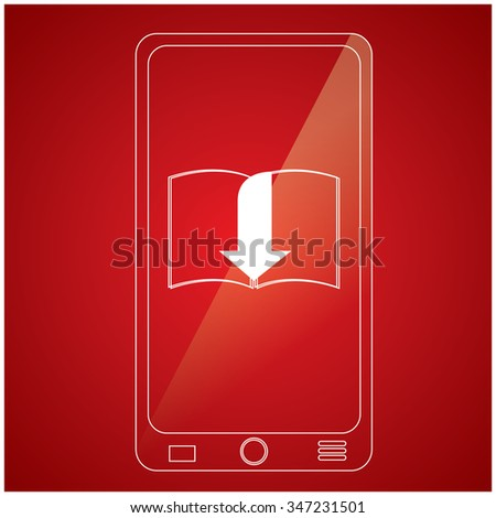 Isolated cellphone with an e-book icon on a red background - stock vector