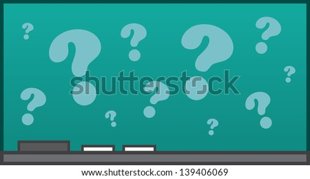Isolated chalkboard with question marks  - stock vector