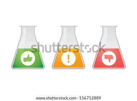 Isolated chemical test tubes with icons
