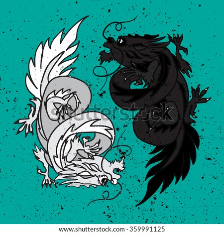 Isolated Chinese Dragon Oriental Feng Shui in symbol of the Yin Yang. Vector - stock vector