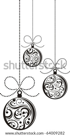 isolated christmas balls with scrolls ornaments in vector format very easy to edit - stock vector