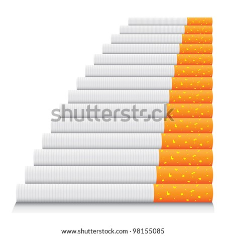 isolated cigarettes in line - detailed realistic illustration - stock vector