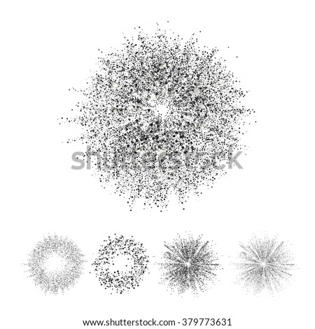 Isolated circle, star and Ring set with black glitter square particles at white background. Abstract  vector dust particles illustration. Particles art.