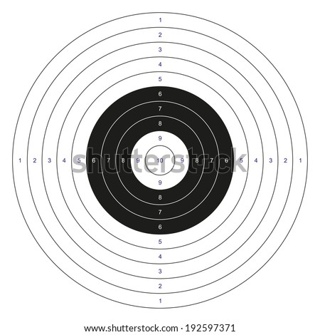 Isolated classic black and white bulls eye target with numbers - stock vector