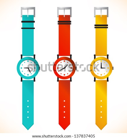 Isolated clocks. Wrist-watch. Set of clocks - stock vector