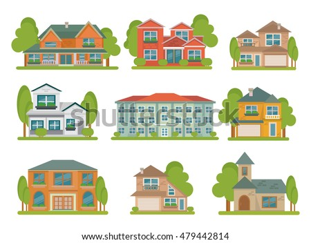Isolated Colored Different Types Buildings Flat Stock