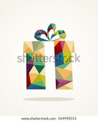 Isolated colorful abstract Christmas gift box triangle composition. EPS10 vector file organized in layers for easy editing. - stock vector
