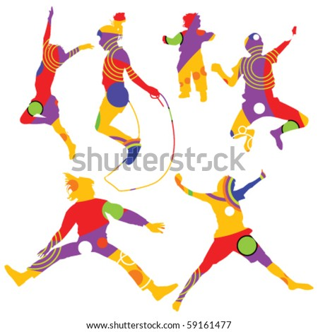 isolated colorful silhouettes of kids jumping - stock vector