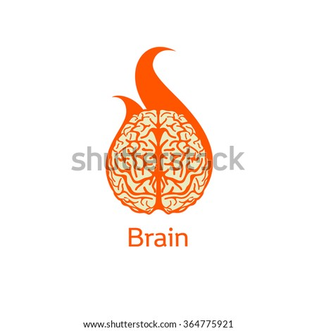 Isolated colorful vector brains. Medical logo.Scientifical logo. Orange neurobiology emblem. Intelligence image. Human brain illustration. Graphic cortex symbol. Cerebral hemispheres. Brain explosion. - stock vector