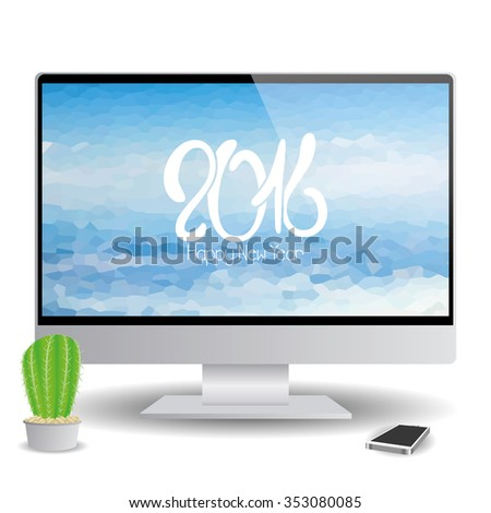 Isolated computer screen with a background with text for new year celebrations