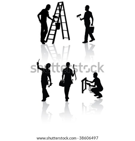 Isolated construction workers silhouettes with different tools