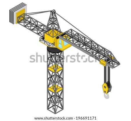 isolated crane structure isometric view drawing vector illustration - stock vector