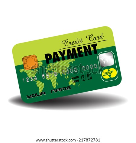 Isolated credit card colored in green, with a little world map and the word payment written in black. Payment concept - stock vector