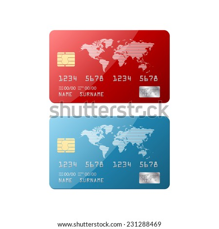 Isolated credit card.vector - stock vector