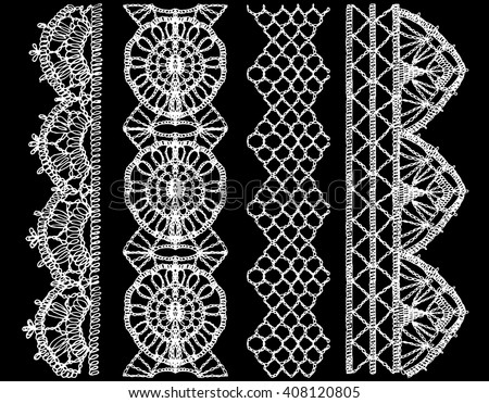 Isolated crocheted lace border with an openwork pattern. Lace pattern, ribbon, lace background, lace vector, lace border, lace fabric. Set of isolated knitted lace borders. Vector illustration - stock vector