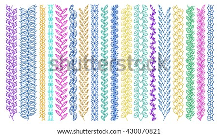 Isolated crocheted lace border with an openwork pattern. Stitch pattern for clothing, elements of folk embroidery, cross stitch vector ornament, set of art brushes with embroidery cross. - stock vector