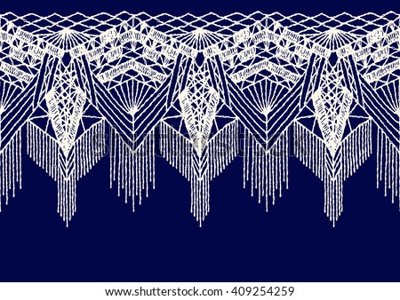 Isolated crocheted lace border with an openwork pattern. Vector illustration - stock vector