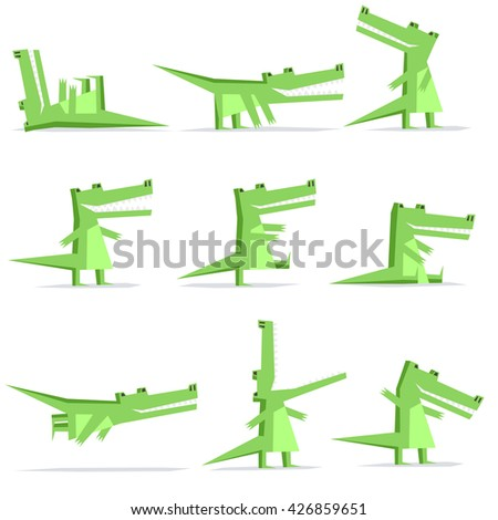 Isolated crocodile cartoon flat style in nine different situations like: lie on back, creep, look back, standing, walking, sitting, flying, open jaws, feature - stock vector