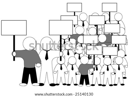 isolated crowd with transparency on strike, vector