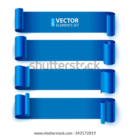 Isolated curled blue paper stripe banners with realistic shadows on white background. RGB EPS 10 vector elements set - stock vector