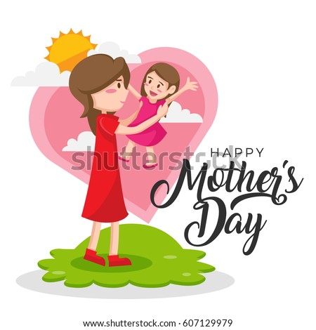 Isolated Cute Happy Mother's Day Mom And Daughter Activities Illustration, Suitable For Social Media, Print, Web Banners, Decoration, Invitation and Other Mother's Day Related Activities