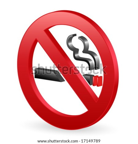 Isolated 3D no smoking sign. Vector illustration. - stock vector