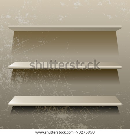 Isolated 3d shelves on grunge background, vector illustration, eps10, 3 layers - stock vector