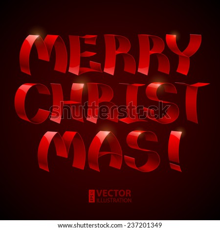 Isolated 3d shiny red ribbons Merry Christmas! text on black background. RGB EPS 10 vector illustration - stock vector