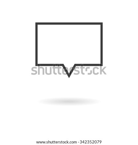 Isolated dark gray icon for rectangular speech bubbles (talk, dialog, chat, opinion, contact, conversation, forum, message, ...) on white background with shadow - stock vector