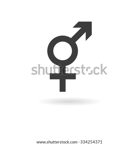 Isolated dark grey icon for intersex on white background with shadow - stock vector